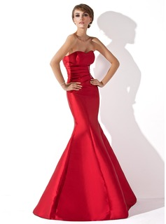 Mermaid Sweetheart Floor-Length Taffeta Evening Dress With Ruffle Beading