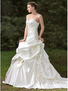 Ball-Gown Sweetheart Chapel Train Satin Wedding Dress With Ruffle Lace Beading Flower(s) Bow(s)