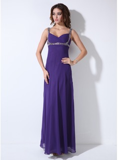 Empire Sweetheart Floor-Length Chiffon Evening Dress With Ruffle Beading Sequins (017020671)