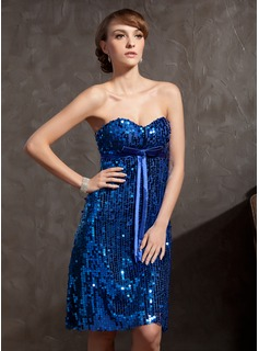 Empire Sweetheart Knee-Length Charmeuse Sequined Cocktail Dress With Bow(s)