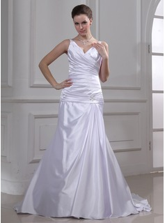 A-Line/Princess V-neck Court Train Charmeuse Wedding Dress With Ruffle Beadwork (002012757)
