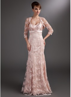 Mermaid Sweetheart Floor-Length Charmeuse Lace Mother of the Bride Dress With Ruffle Beading Sequins