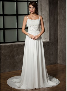 A-Line/Princess Scoop Neck Chapel Train Chiffon Wedding Dress With Ruffle Beadwork Sequins