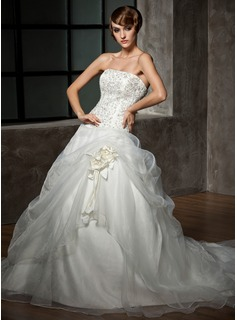 Ball-Gown Strapless Chapel Train Organza Satin Wedding Dress With Embroidery Beadwork Flower(s) (002012711)