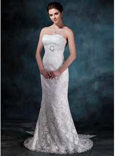Sheath/Column Strapless Watteau Train Chiffon Charmeuse Lace Wedding Dress With Ruffle Crystal Brooch