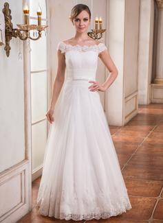 Corte A/Princesa Hombros caídos Hasta el suelo Tul Vestido de novia con Volantes Encaje Bordado Lentejuelas