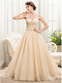 Ball-Gown V-neck Chapel Train Tulle Lace Wedding Dress With Beading Sequins