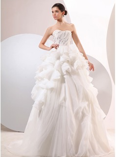 Ball-Gown Sweetheart Court Train Organza Satin Tulle Wedding Dress With Lace Beadwork