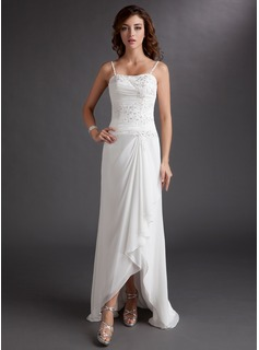 A-Line/Princess Sweetheart Asymmetrical Chiffon Wedding Dress With Lace Beading Sequins Cascading Ruffles
