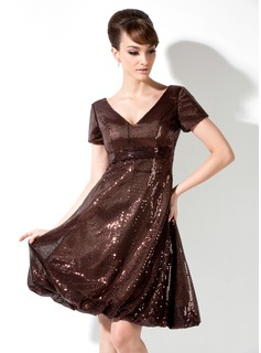 Empire V-neck Knee-Length Sequined Cocktail Dress With Ruffle (016008371)