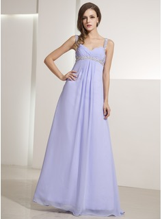 A-Line/Princess V-neck Floor-Length Chiffon Holiday Dress With Ruffle Beading (020014196)