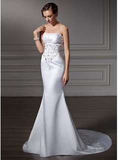 Mermaid Strapless Chapel Train Satin Wedding Dress With Embroidery Ruffle Beadwork