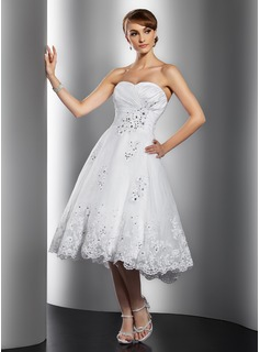 A-Line/Princess Sweetheart Knee-Length Taffeta Organza Wedding Dress With Ruffle Lace Beadwork Sequins