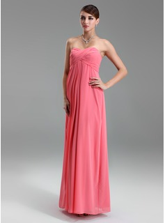 Empire Sweetheart Floor-Length Chiffon Maternity Bridesmaid Dress With Ruffle (045022460)