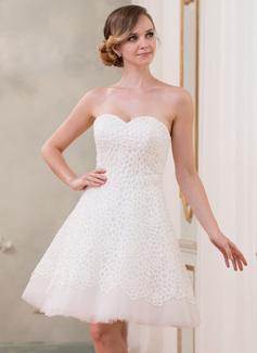 A-Line/Princess Sweetheart Knee-Length Organza Lace Wedding Dress