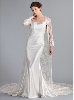 Sheath/Column Cowl Neck Cathedral Train Charmeuse Lace Wedding Dress