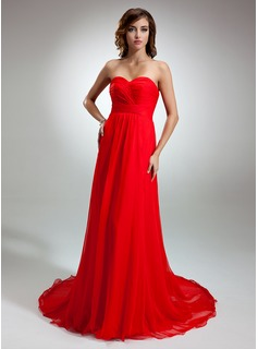 A-Line/Princess Sweetheart Watteau Train Chiffon Evening Dress With Ruffle (017016345)