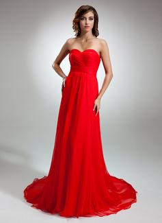 A-Line/Princess Sweetheart Court Train Chiffon Evening Dress With Ruffle