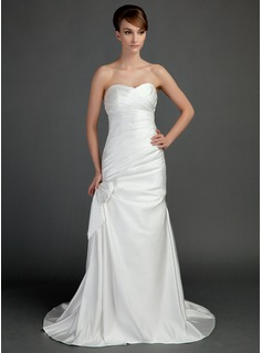 A-Line/Princess Sweetheart Court Train Satin Wedding Dress With Ruffle