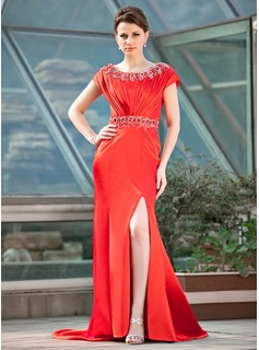 Trumpet/Mermaid Scoop Neck Sweep Train Charmeuse Mother of the Bride Dress With Ruffle Beading Sequins Split Front