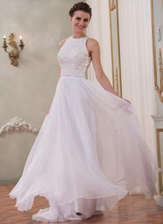 Corte A/Princesa Escote redondo Barrer/Cepillo tren Chifón Encaje Vestido de novia con Bordado