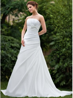 A-Line/Princess Strapless Court Train Taffeta Wedding Dress With Ruffle