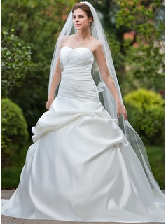 Ball-Gown Sweetheart Cathedral Train Satin Wedding Dress With Ruffle Beadwork