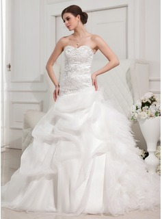 Ball-Gown Sweetheart Cathedral Train Organza Satin Tulle Wedding Dress With Ruffle Lace Beadwork