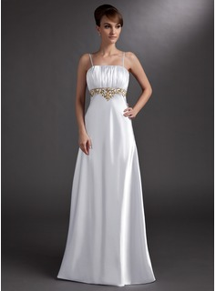 Empire Square Necklin Floor-Length Charmeuse Evening Dress With Embroidered Ruffle Beading