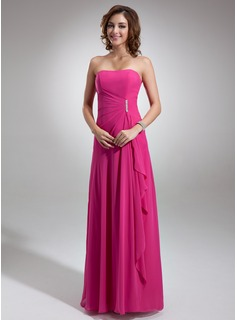 A-Line Sweetheart Floor-length Chiffon Bridesmaid Dress With Side Drape and Brooch