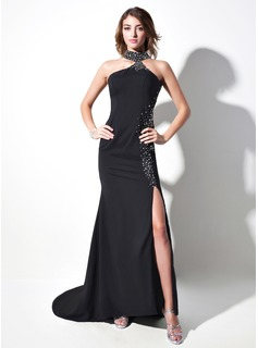 Mermaid Halter Sweep Train Charmeuse Prom Dress With Beading