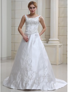 A-Line/Princess Scoop Neck Chapel Train Satin Wedding Dress With Embroidered Beading Sequins