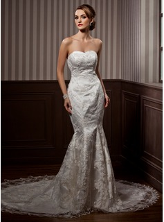 Trumpet/Mermaid Sweetheart Chapel Train Satin Lace Wedding Dress With Beading Sequins