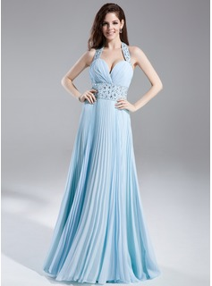 A-Line/Princess Halter Floor-Length Chiffon Prom Dress With Ruffle Beading (018015852)