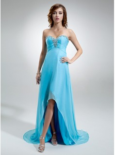 Empire Sweetheart Asymmetrical Chiffon Evening Dress With Ruffle Beading