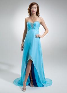 Empire Sweetheart Asymmetrical Chiffon Evening Dress With Ruffle Beading