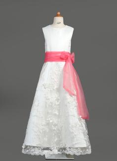 Corte A/Princesa Escote redondo Vestido Organdí Satén Encaje Vestido para niña de arras con Fajas Lazo(s)
