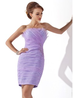 Sheath/Column Scalloped Neck Short/Mini Organza Cocktail Dress With Ruffle Lace Beading Sequins