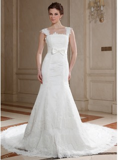 A-Line/Princess Square Neckline Chapel Train Satin Tulle Wedding Dress With Lace