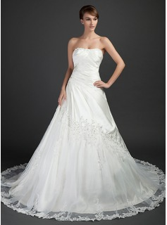 Ball-Gown Sweetheart Cathedral Train Tulle Charmeuse Wedding Dress With Ruffle Lace Beadwork
