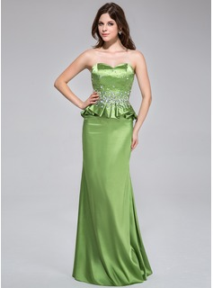 Sheath/Column Sweetheart Floor-Length Charmeuse Prom Dress With Beading Cascading Ruffles (018043811)
