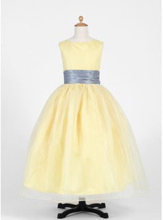 A-Line/Princess Scoop Neck Ankle-Length Taffeta Organza Flower Girl Dress With Sash