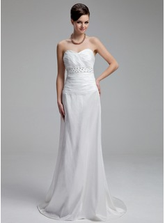 Sheath/Column Sweetheart Court Train Taffeta Wedding Dress With Ruffle Beading