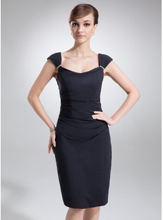 Sheath/Column Cowl Neck Knee-Length Chiffon Mother of the Bride Dress With Ruffle Beading