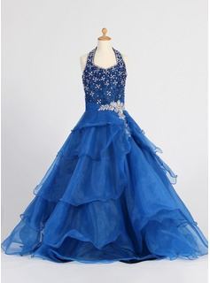 A-Line/Princess Halter Floor-Length Organza Flower Girl Dress With Ruffle Beading Sequins