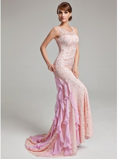 Trumpet/Mermaid Scoop Neck Sweep Train Chiffon Lace Evening Dress With Beading Cascading Ruffles
