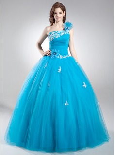 Ball-Gown One-Shoulder Floor-Length Tulle Quinceanera Dress With Lace Beading Flower(s) Sequins