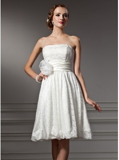 A-Line/Princess Strapless Knee-Length Satin Lace Wedding Dress With Flower(s)
