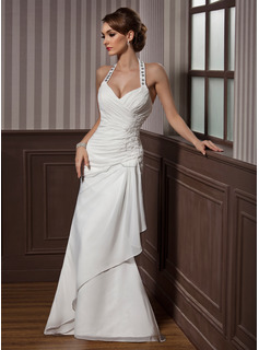 A-Line/Princess Halter Floor-Length Chiffon Satin Wedding Dress With Ruffle Lace Beadwork Sequins