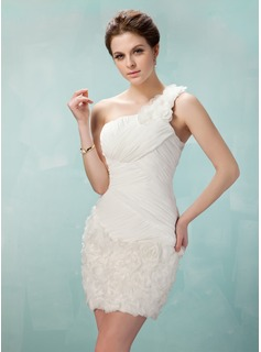 Sheath One-Shoulder Short/Mini Chiffon Lace Homecoming Dress With Ruffle Flower(s)